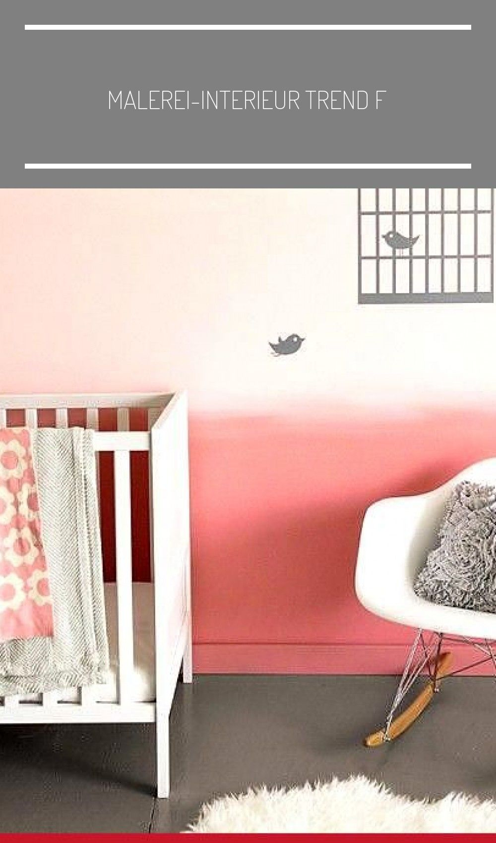 Malerei-Interieur Trend Farbverlauf Rosa Pastell Baby M dchen Zimmer meuble  pei...