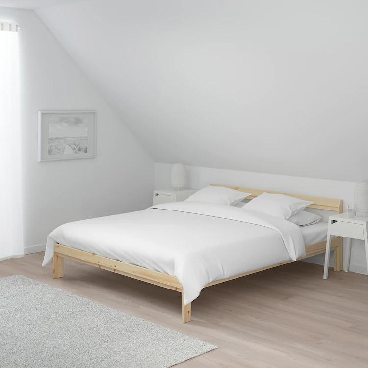 Neiden Bed Frame Pine Luroy Double Ikea In 2020 Bed Frame Low Bed Frame Bed Slats