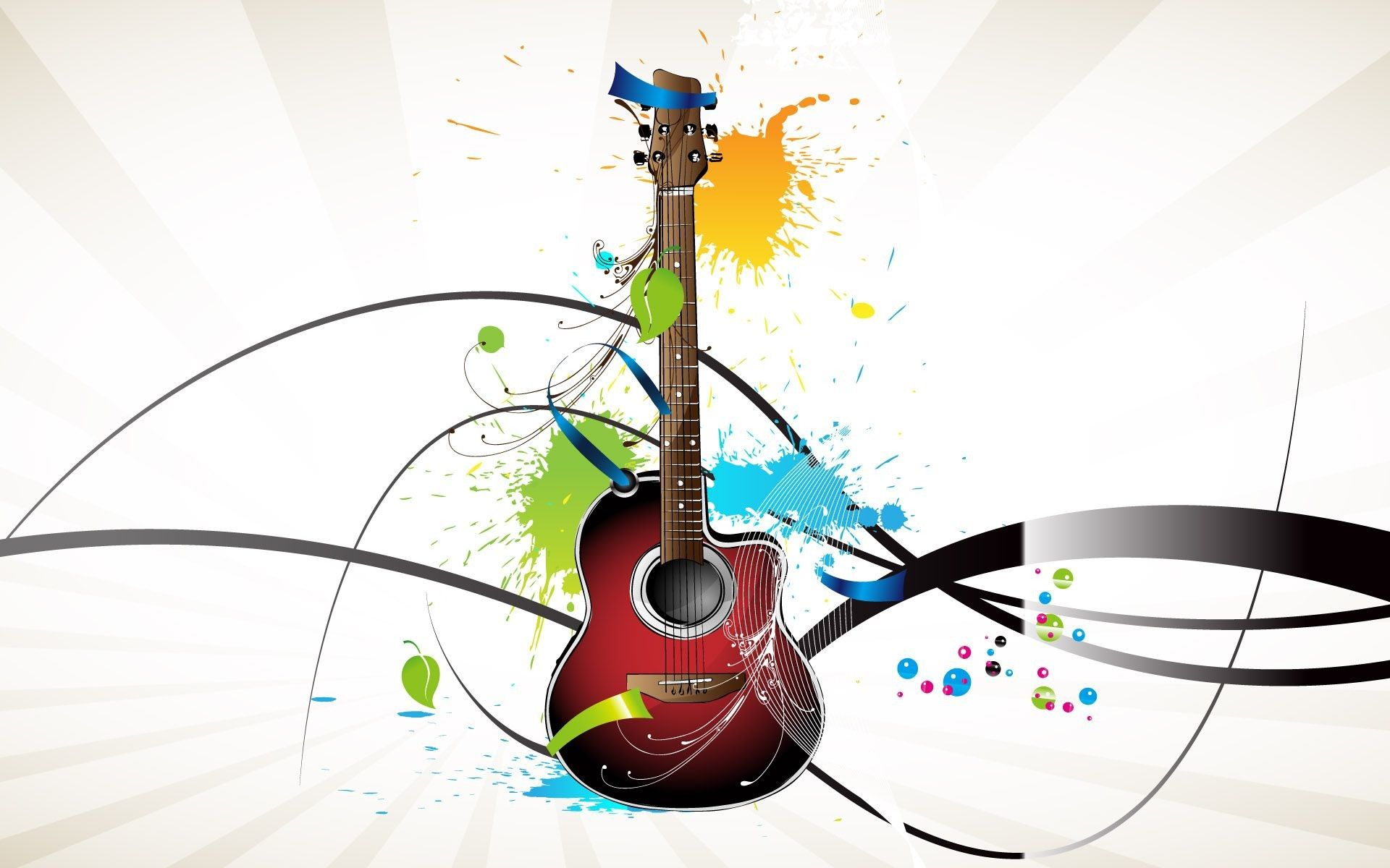 1920x1200 Beautiful Guitar With 3d Color Splash Wallpaper Hd 3d And Abstract Wallpaper Free Download Music Wallpaper Wallpaper Backgrounds Color Splash