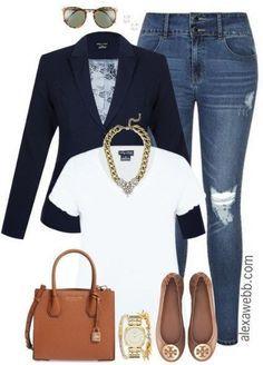 Plus Size Distressed Jeans & a Tee {3 Ways} - Alex