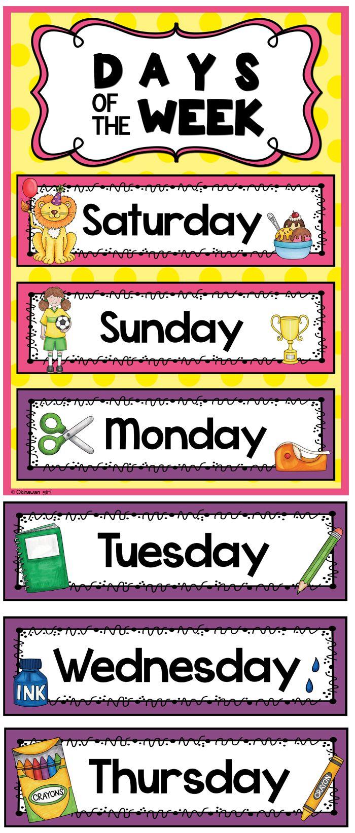 Days of the Week | Kindergarten classroom, English ...