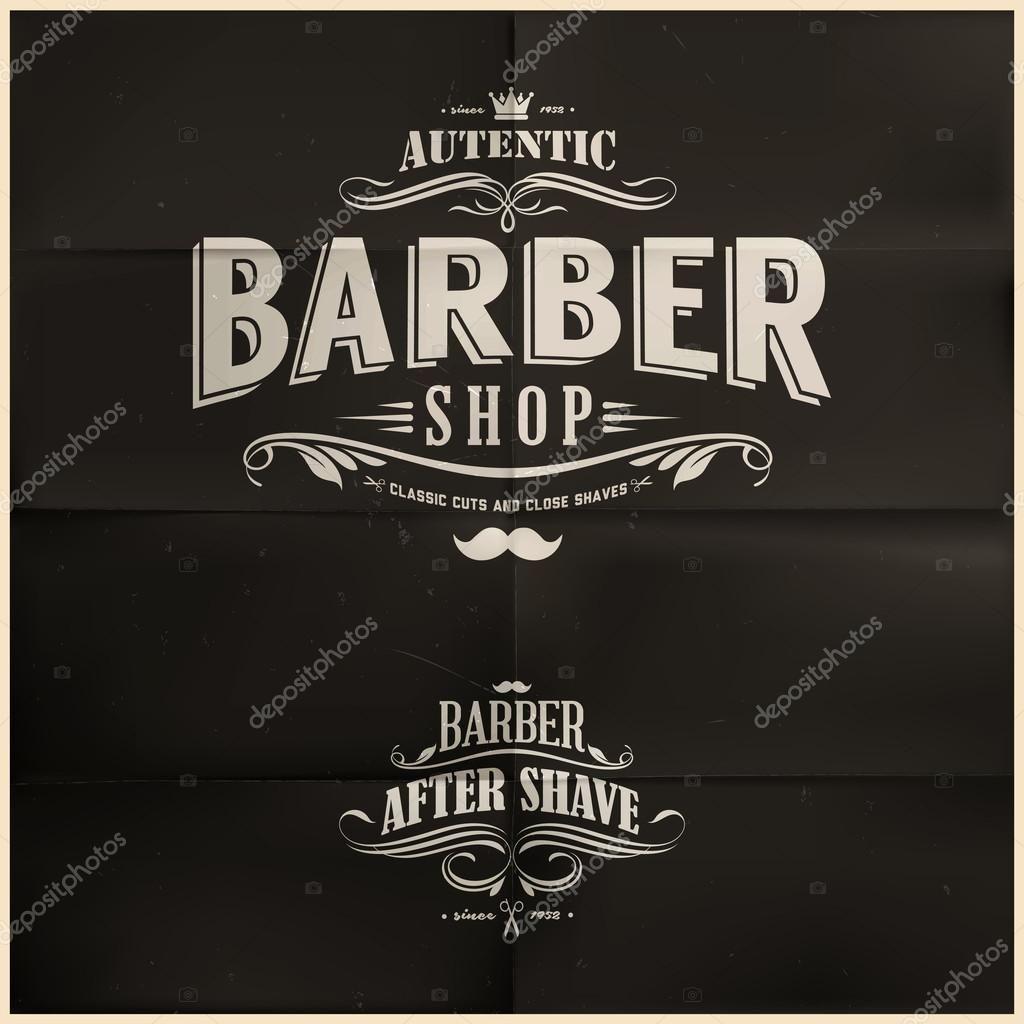 Descargar - Insignias de tienda vintage barbero — Ilustración de