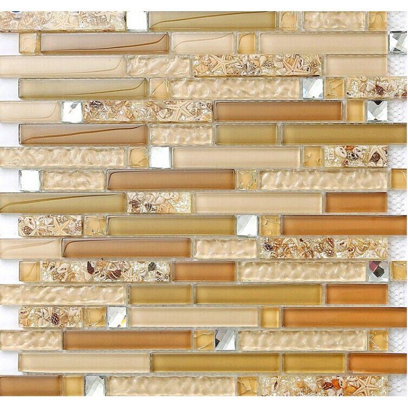 Glass mosaic kitchen tiles for backsplash ideas bathroom resin conch ...