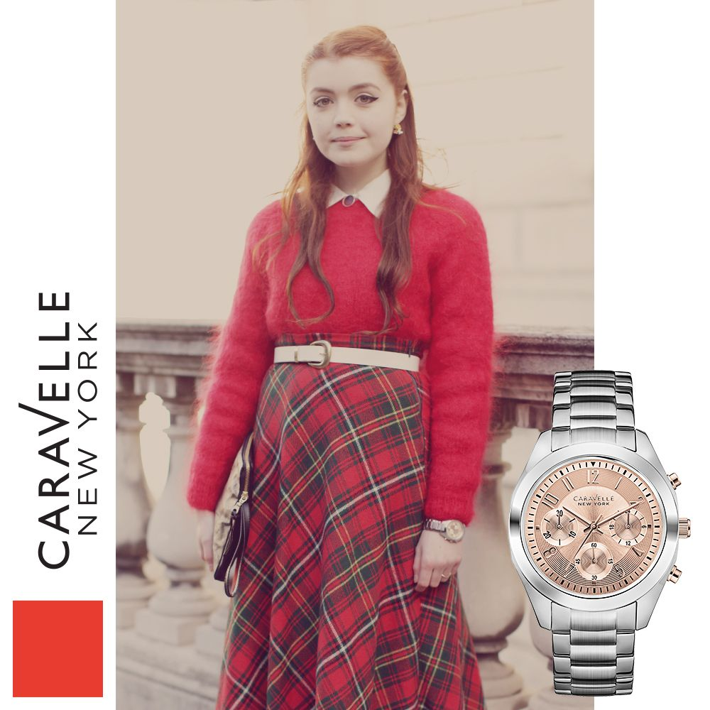 Ellie is wearing our Silver-Tone 45L143, coming to stores this spring! #LFW #Silver #Pink #Plaid #Red #Fashion #Style #StreetStyle