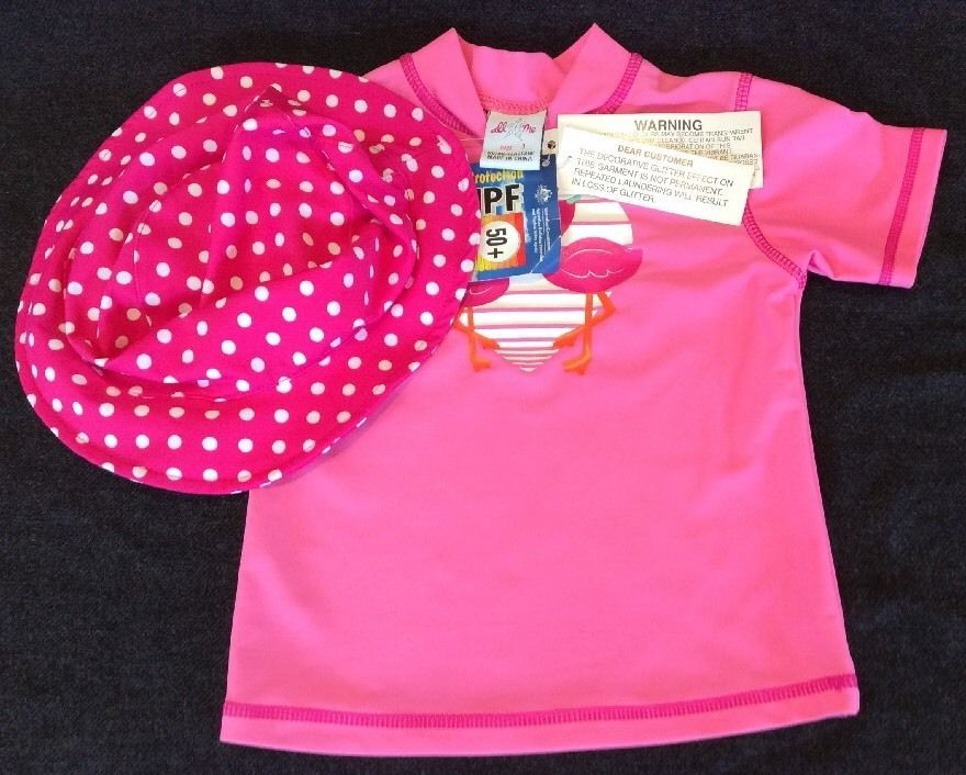 Girls Sun Vest Top Rashy Size 1 Pink Flamingos With Hat
