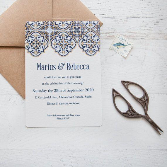 Anniversario Di Matrimonio In Spagnolo.Spagnolo Delle Mattonelle Wedding Stationery Ordine Minimo Di 25