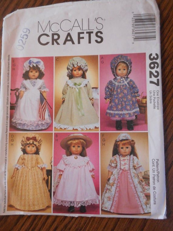 American Girl Historical Dresses Sewing Patterns, Uncut with factory folds Patterns sold seprately