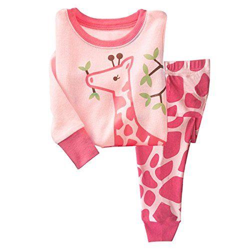 Little Hand Christmas Pyjamas Girls Kids Pink Pjs Giraffe Sleepwear Long Sleeve 2 Pieces Pajamas Set Winter Nightwear Clothes 100/% Cotton Age 1-7 Years