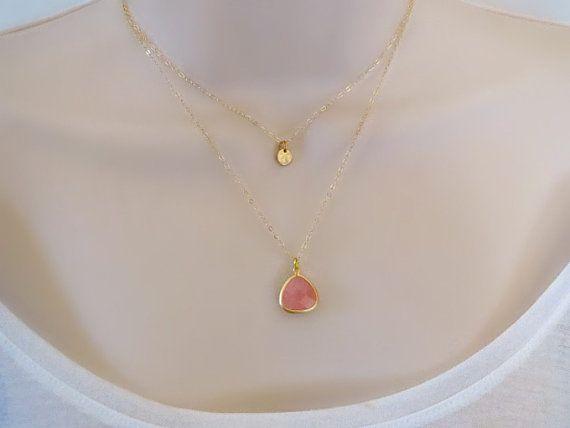 Double Layered Necklace Custom Bezel Necklace by SnobishDesign, $41.00