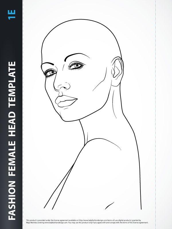 Jewelry Drawing Fashion Female Head Template 1b Lady Fashion Design Fashion Drawing Fashion Figure Templates Fashion Illustration Template