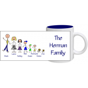 Stick People Family Mug - More Than Mugs: Stick people mugs and other products offer a great way for people to remember those closest to them. They make a great gift for co-workers, family members, friends, and loved ones.