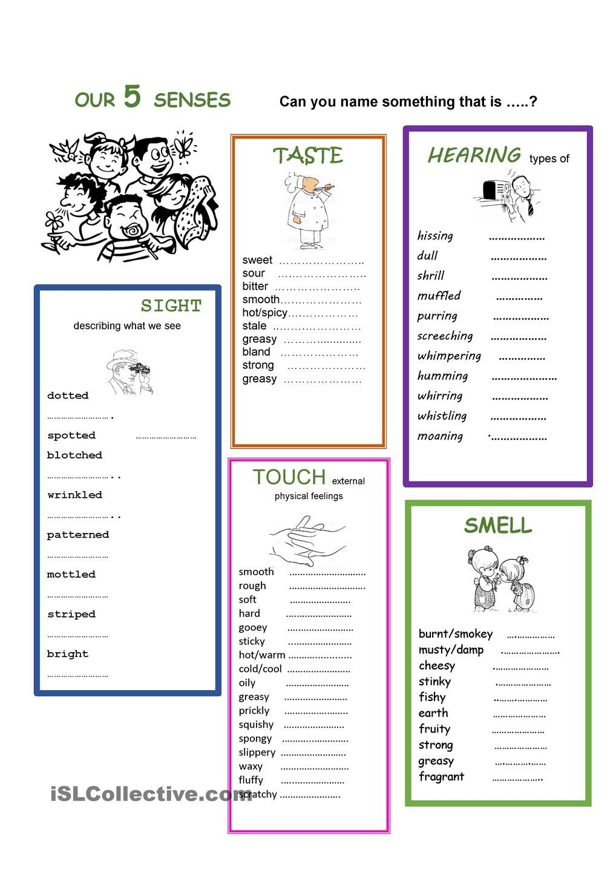 our 5 senses school adjective worksheet english adjectives five senses worksheet. Black Bedroom Furniture Sets. Home Design Ideas
