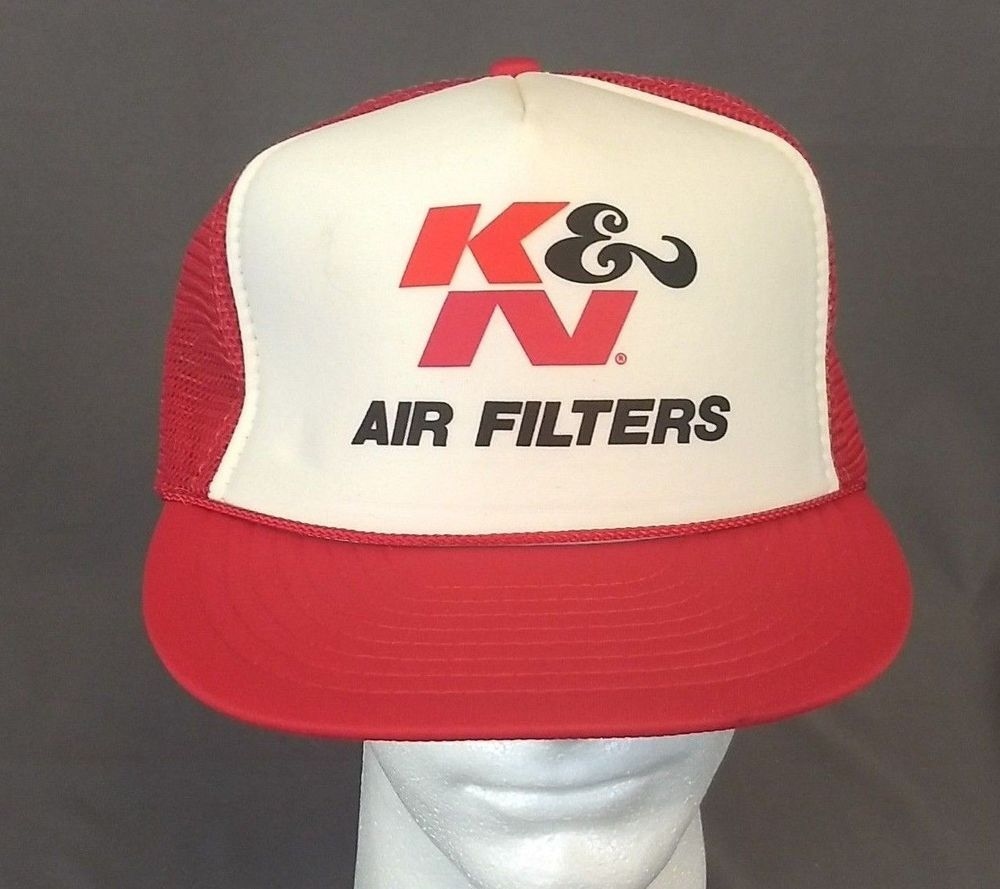 Vintage Trucker Hat K N Air Filters Automotive SnapBack Cap Red and White   Nissin  TruckerHat 12c3f1a51e8