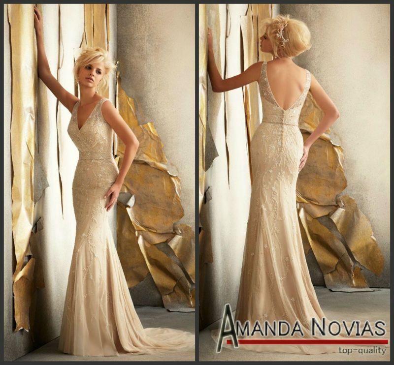 Beautiful Vintage Lace Mermaid Wedding Dresses Sheathy Mermaid Vintage Lace Dark Champagne Color Wedding Dress