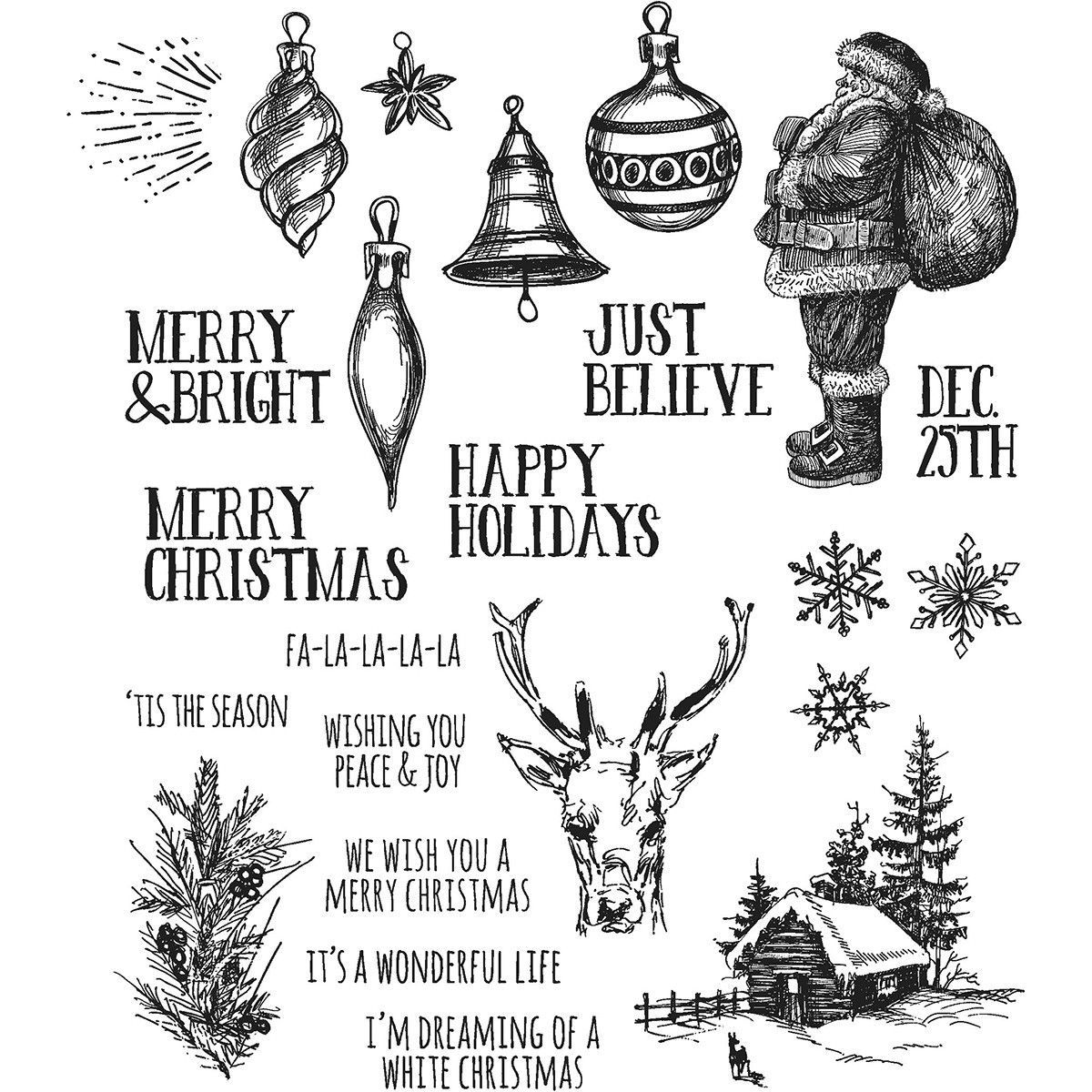 Tim Holtz® Cling Stamps - Holiday Drawings