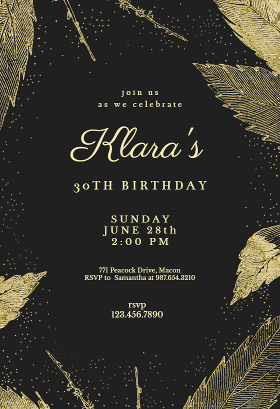 Online Birthday Invitations Templates Fascinating Golden Winter Leaves Invitation Templatecustomize Add Text And .