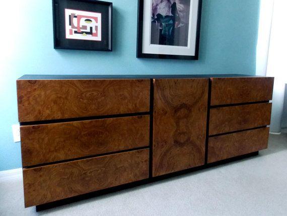 HOLD   Milo Baughman For Lane Dresser Credenza Olive Burl Wood Mid Century  Modern Furniture 1970s Home Decor