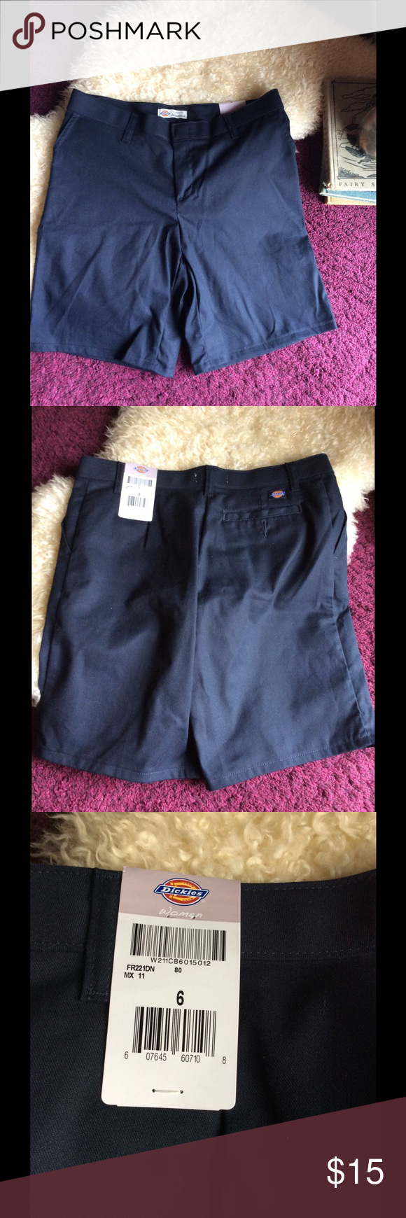 Women's dickies navy blue shorts relaxed fit NWT NWT Women's dickies shorts relaxed fit size 6. No flaws! I view all offers and questions. Get it NOW before it's gone!!! Dickies Shorts