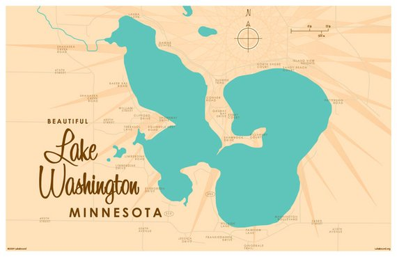 lake washington mn map Lake Washington Mn Map Art Print Map Art Print Metal Signs lake washington mn map