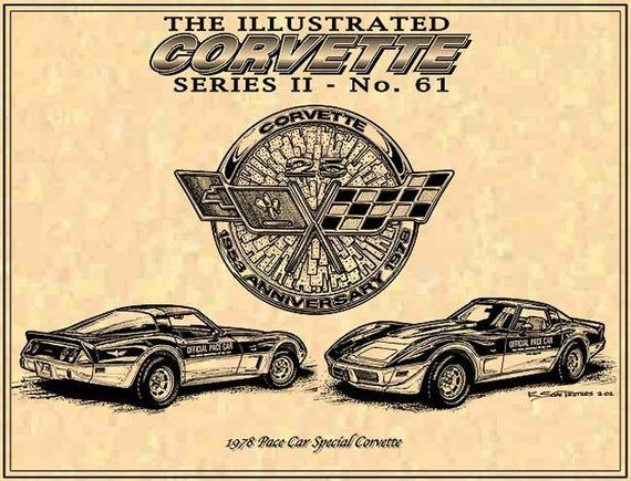 1978 Pace Car Special Corvette C3 Car Art Print78 Pace Car Etsy Corvette Art Car Art Corvette C3