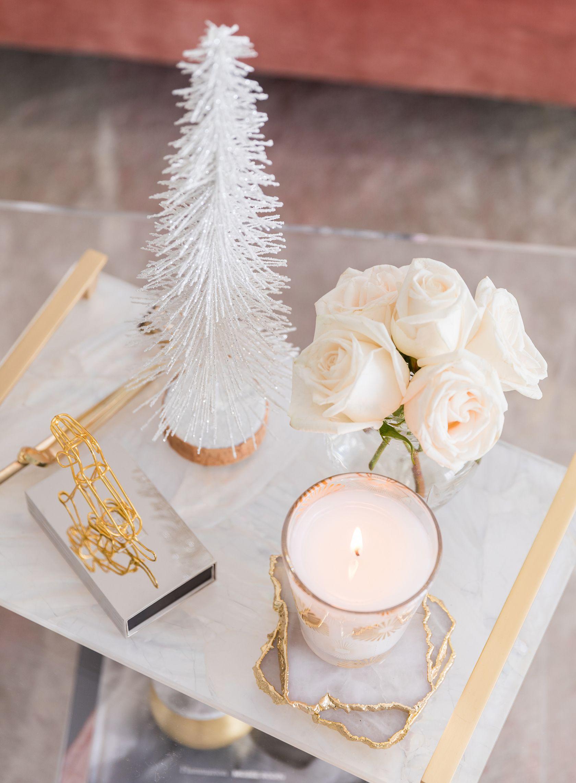 Glam Holiday Decor Blush White Metallics Decor Christmas Decorations Decorating Coffee Tables