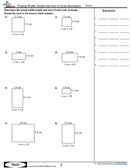 Area Perimeter Worksheets Finding Width Height And Area Of Scale Rectangles Worksheet Area And Perimeter Decimals Worksheets Area And Perimeter Worksheets