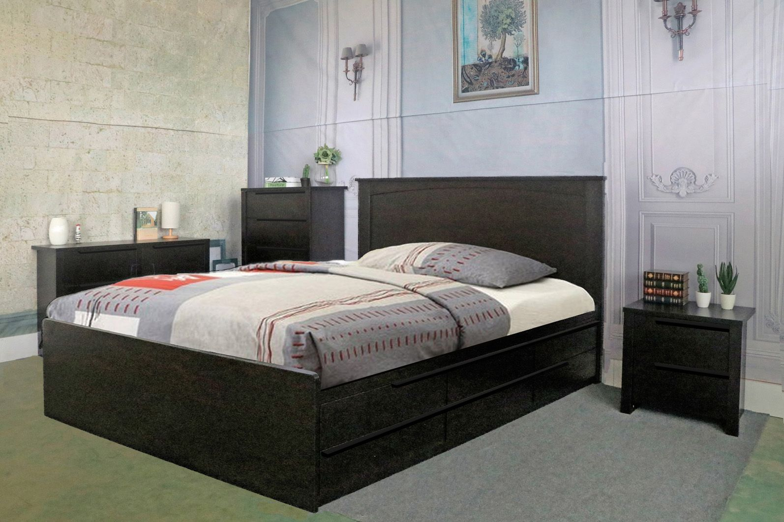 Y1702FX5 Smart Home Red Cocoa Full Size Bedroom 5 Piece
