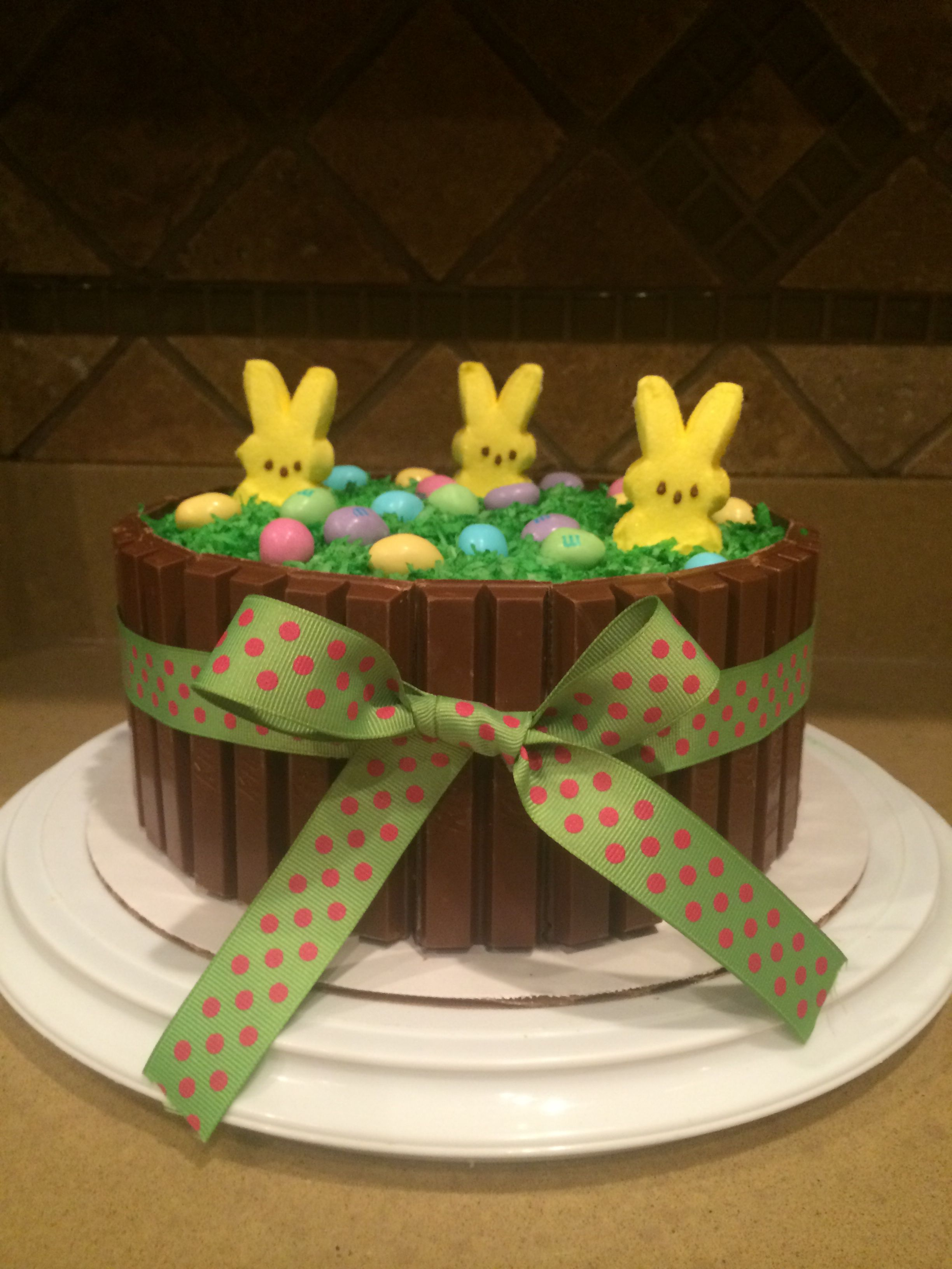 Easter cake- chocolate chip cookie in between 2 layers of devils food cake.