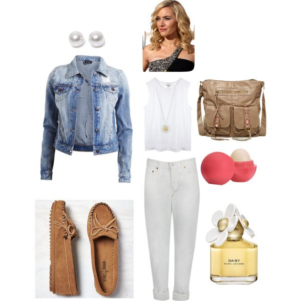 Monday outfit by aero1blue on Polyvore featuring polyvore fashion style VILA Levi's Minnetonka T-shirt & Jeans Daisy Jewellery Nouv-Elle Marc Jacobs Eos