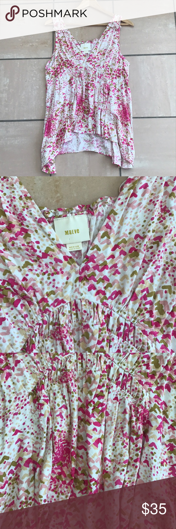 d3a5346c68ce Maeve Anthropologie Pink Patterned Boho Tank Maeve Branded top sold at  Anthropologie. The top is