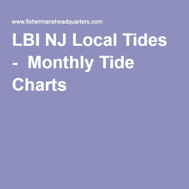 Lbi Nj Local Tides Monthly Tide Charts Miscellaneous Pinterest