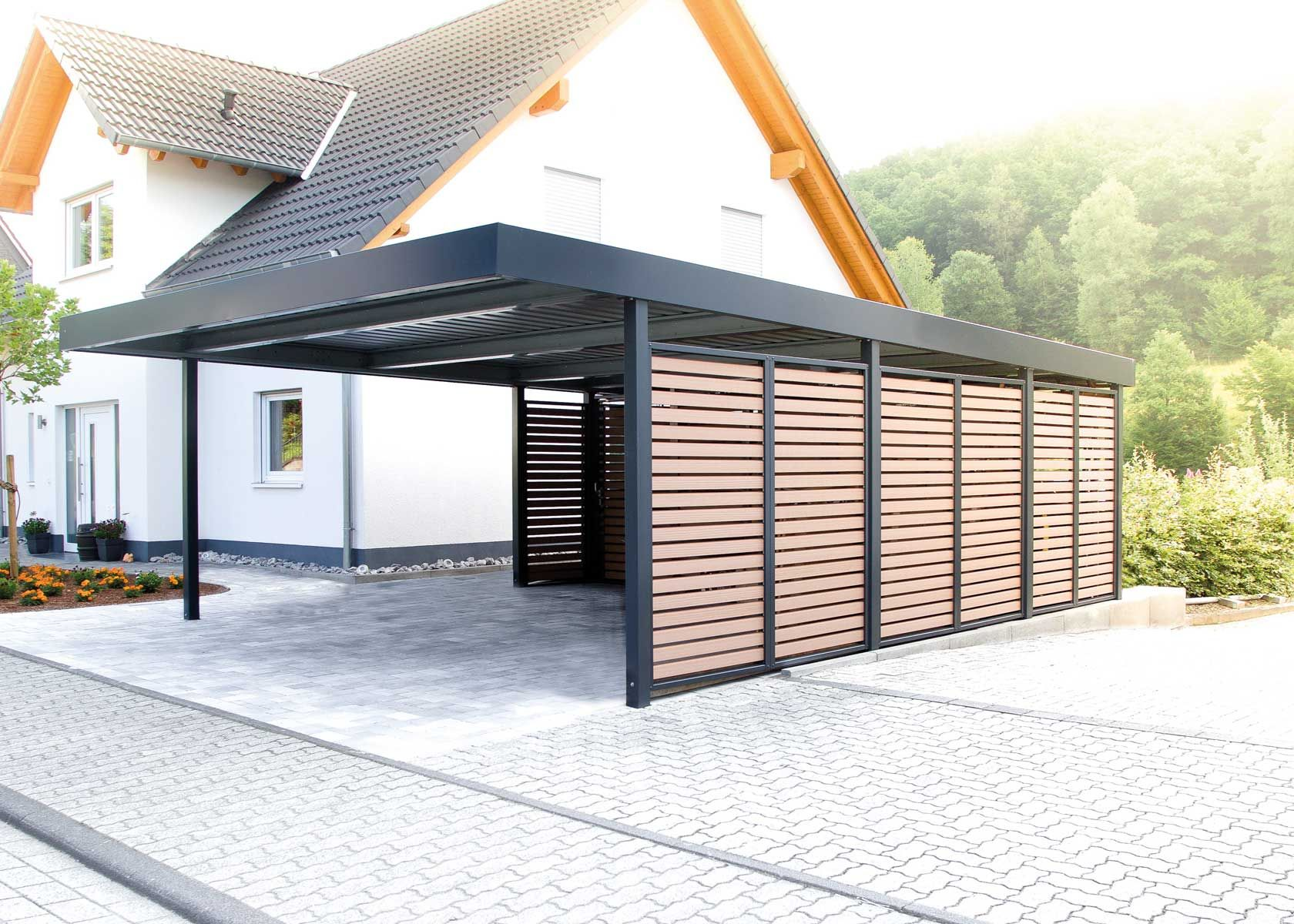 Carport Mit Wandfelder Als Sichtschutz Carport Uberdachung Carport Fachwerkhauser