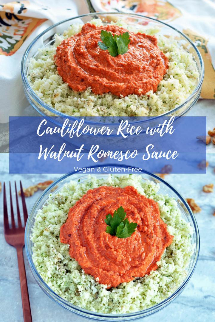 Cauliflower Rice With Walnut Romesco Sauce