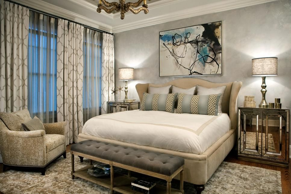 A Soft Color Palette Of Gray And Neutral Creates The Perfect Master Bedroom For Relaxing