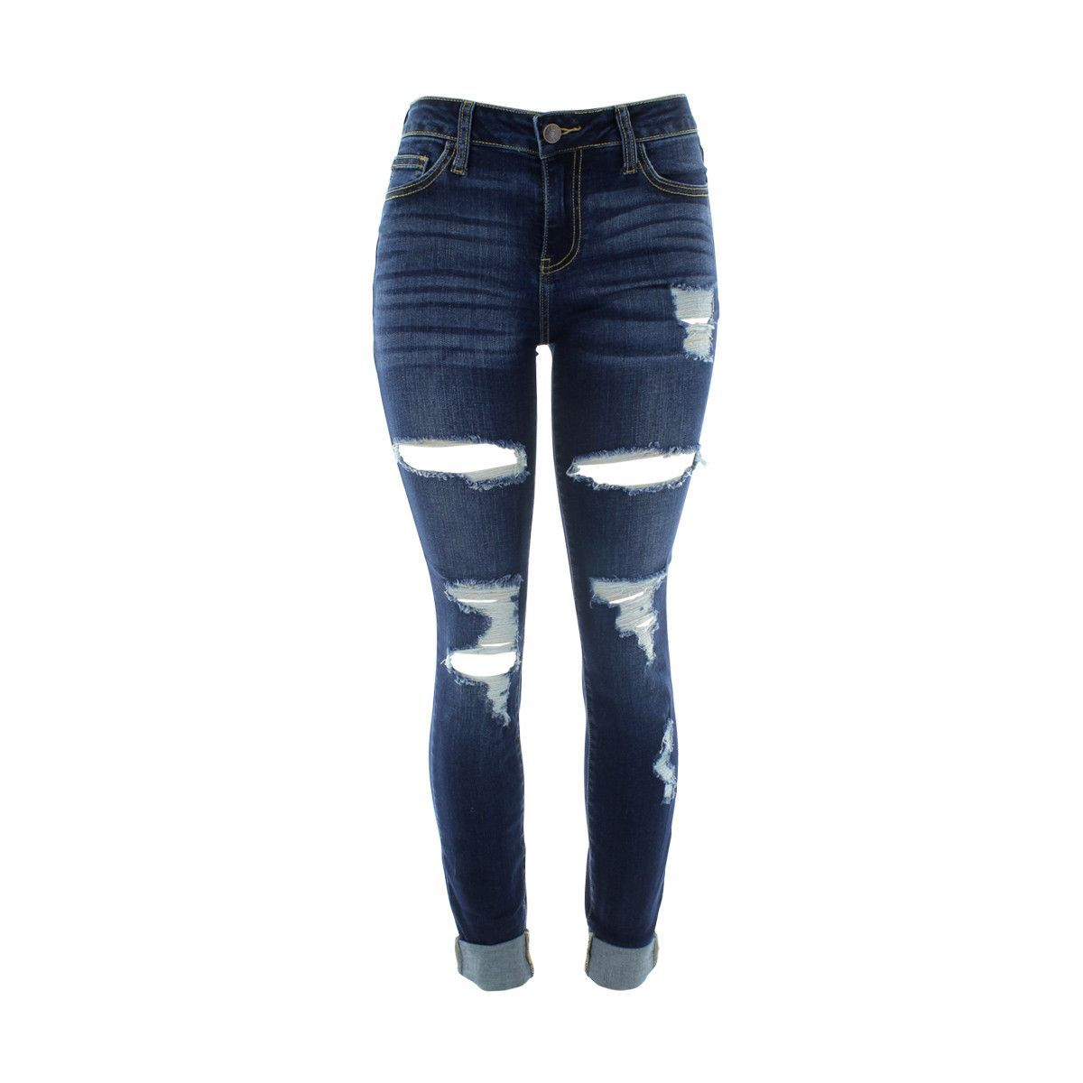 Cello Jeans - Women's Rips Holes Midrise Roll Cuff Skinny Jeans - Dark Blue