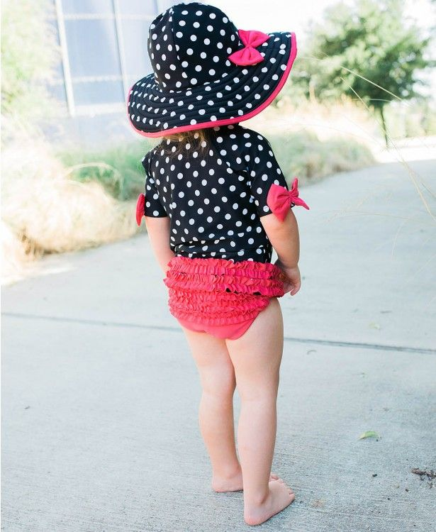 e1dee5191 This vintage style ruffle swimsuit is ADORABLE on any little girl! That  matching hat is the perfect finishing touch.