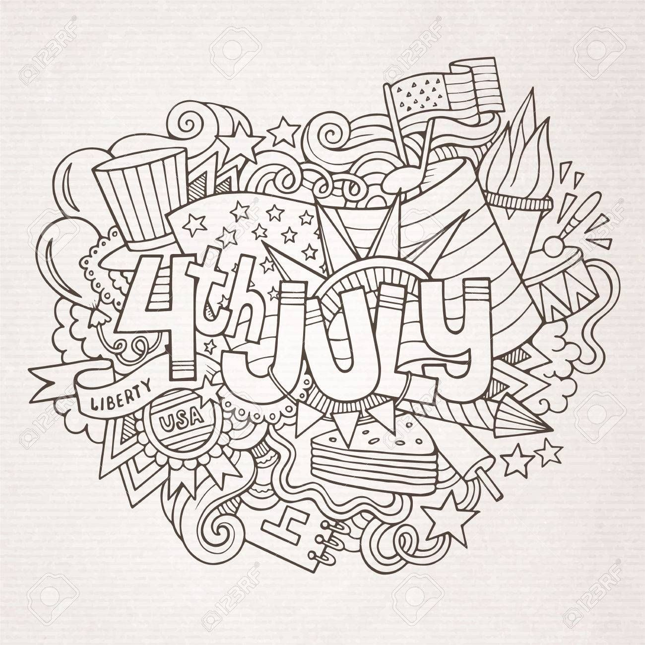 4th July Independence Day Hand Lettering And Doodles