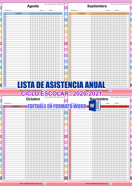 Lista De Asistencia Anual Ciclo Escolar 2020 2021 Listas De Asistencia Lista De Alumnos Hojas De Asistencia Formato lista de asistencia escolar