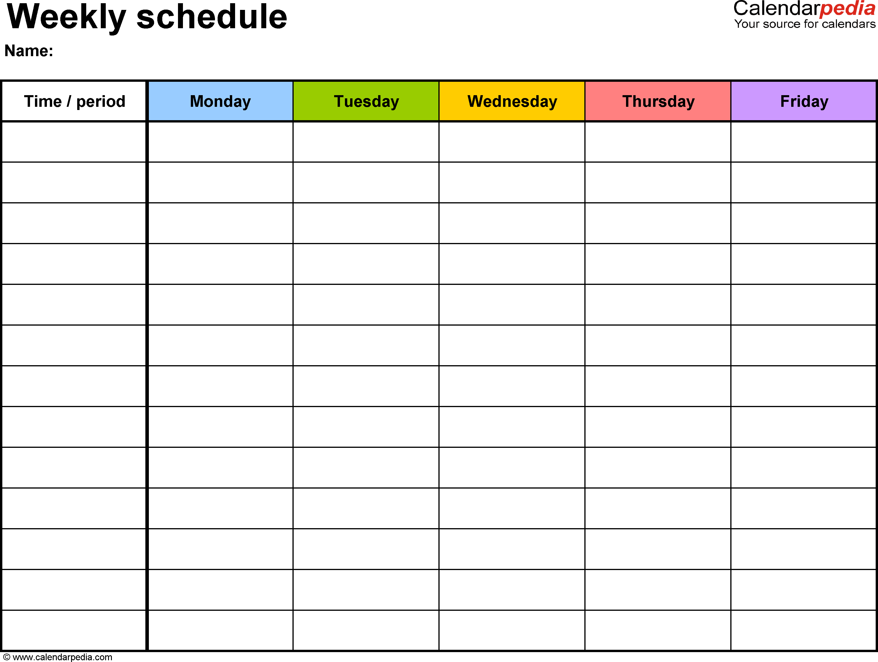 Weekly schedule template for Word version 1: landscape, 1 page ...