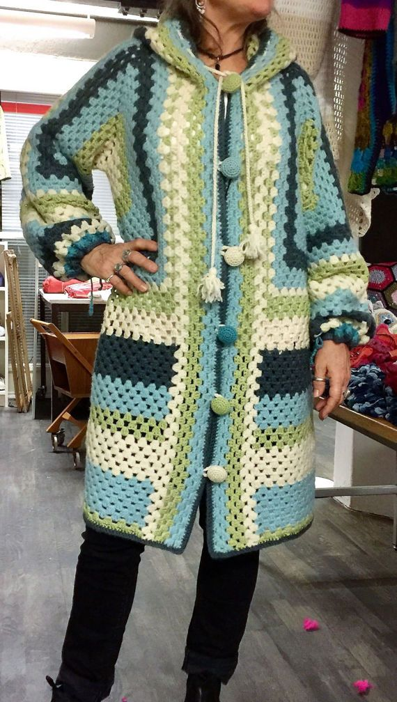 Crochet Granny Wool Jacket Spring Colours