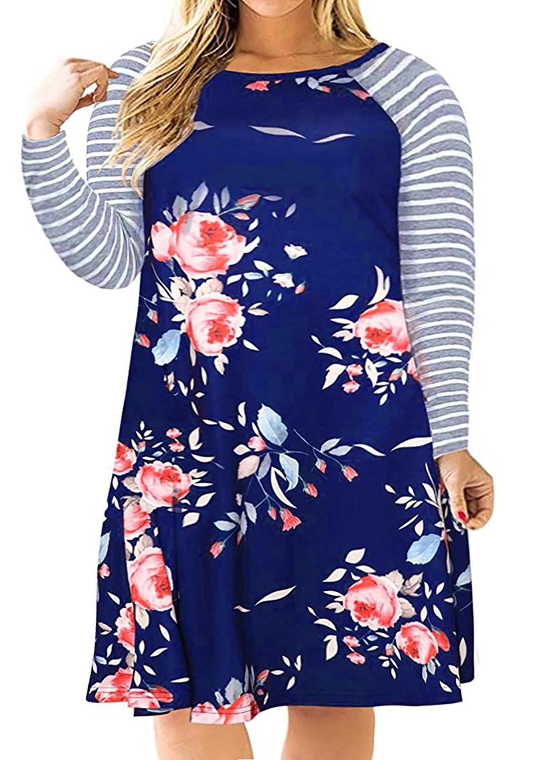 73d78a5b5dc 100% Polyester Imported Hand Wash-only by cold water The drop down size is  US Plus Size Floral Midi Dress with striped sleeves Round Neck T Shirt  Dresses ...