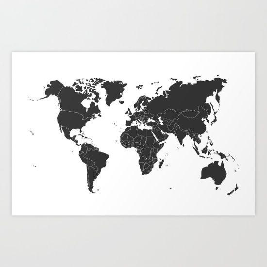 Black and white map world map globe dorm items pinterest black and white map world map globe gumiabroncs Choice Image