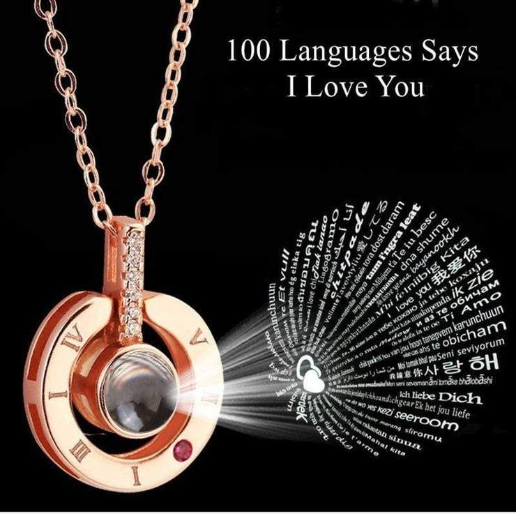 100 Language I Love You Projection Pendant Necklace Love Necklace Valentines Necklace Girlfriend Gifts