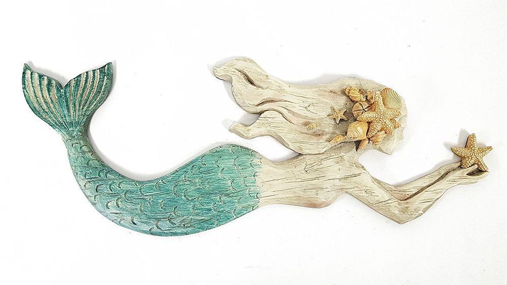 "Mermaid Resin Wall Decor XTRA Large 20/"" Nautical Shabby Chic Nautical Decor NEW"