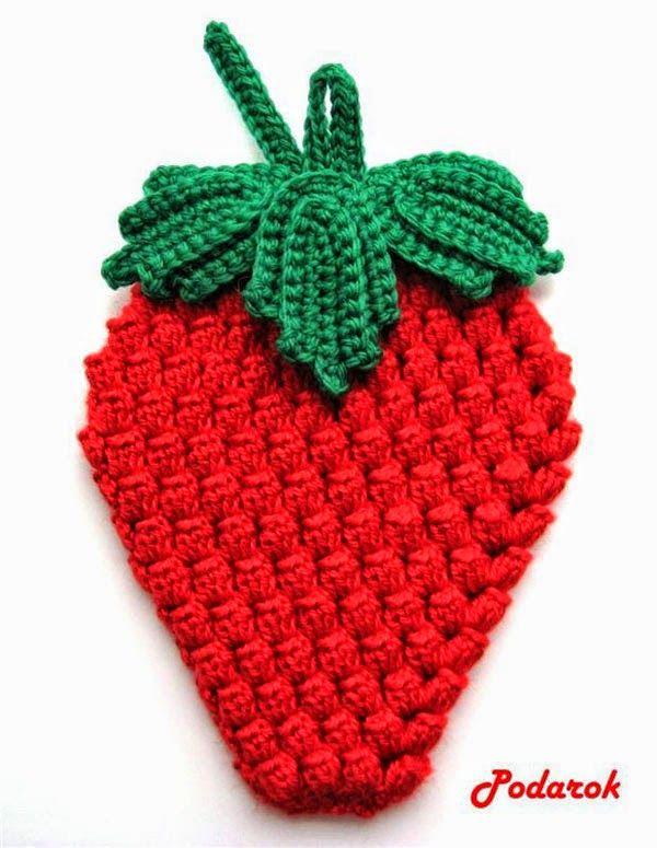 Agarradera con patron forma frutilla | tejidos crochet | Pinterest ...