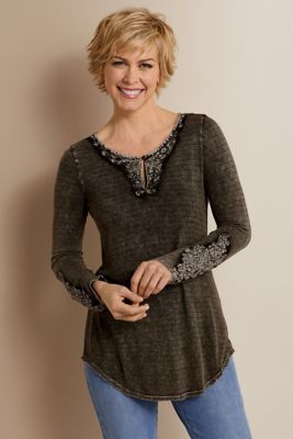 theresa top  embroidered top  soft surroundings outlet