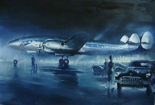 Lockheed Super Constellation (Air France) at Night by Lucio Perinotto
