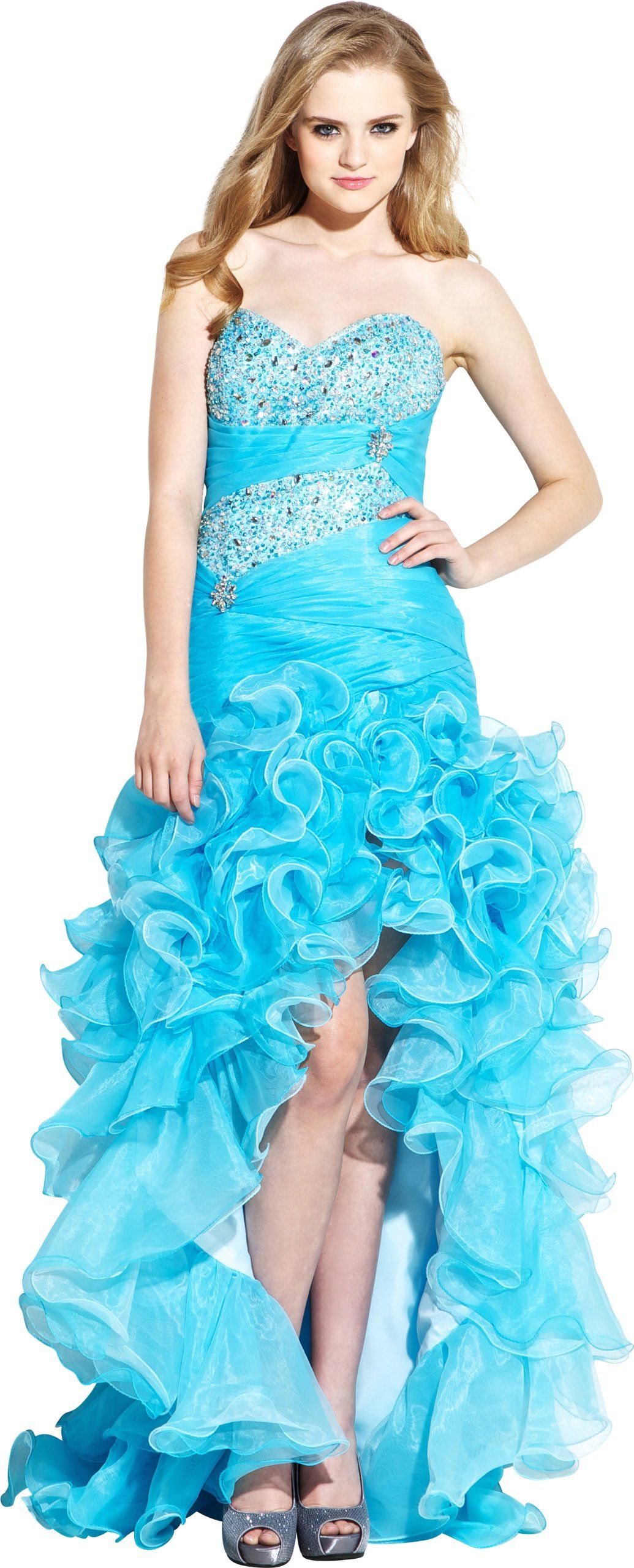 Turquoise low high prom dresses forecast to wear for autumn in 2019