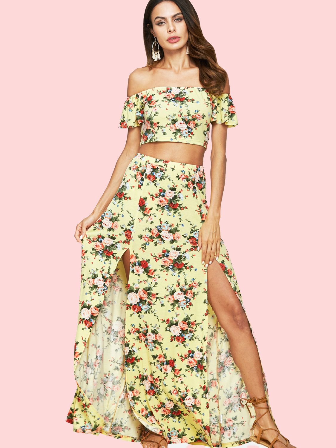 0d009c253 Floral Printed Crop Bardot Tops and Double Splits Skirts Sets Split Skirt,  Bardot Top,