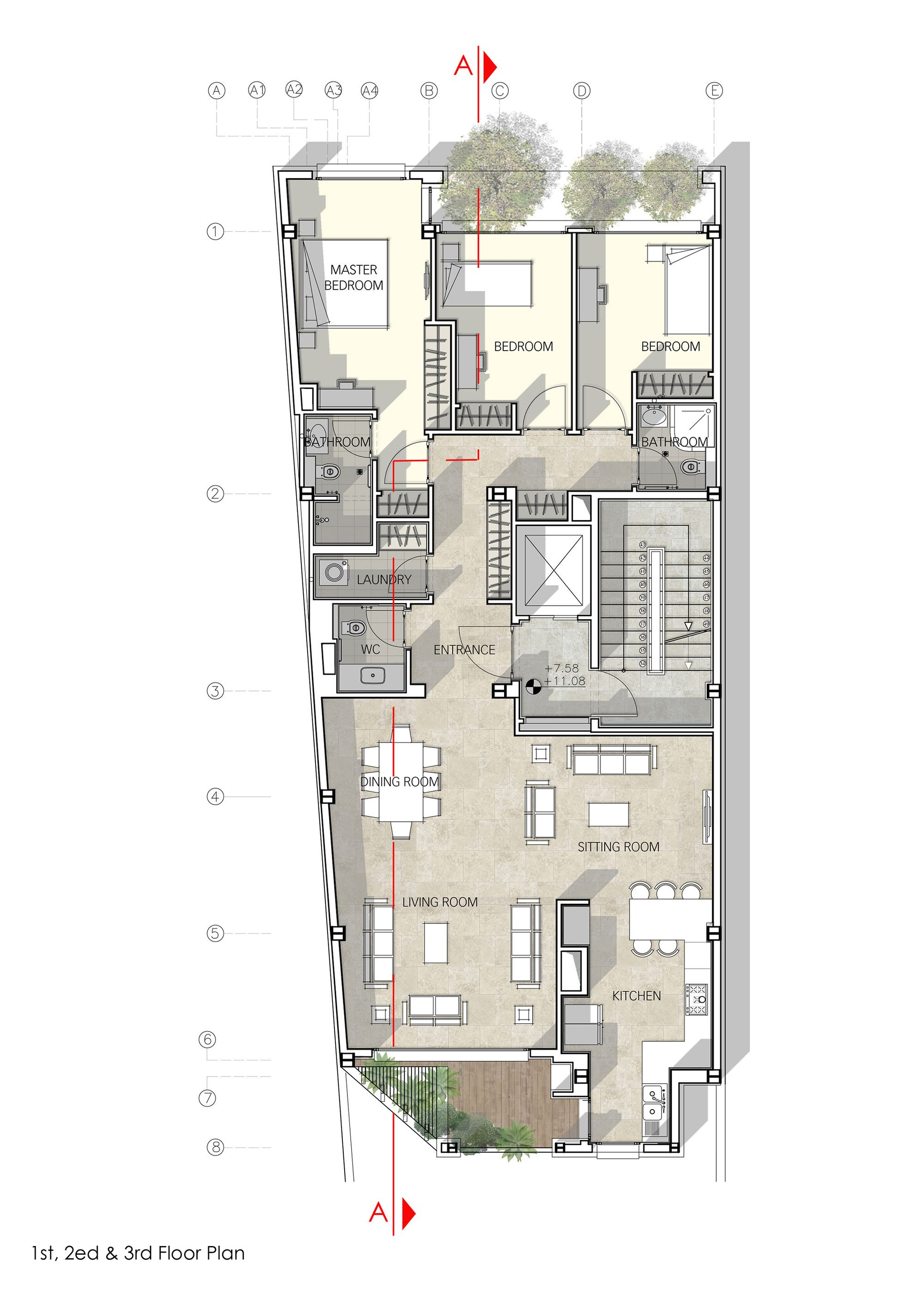 Haghighi residential buildingfirst second third floor plan